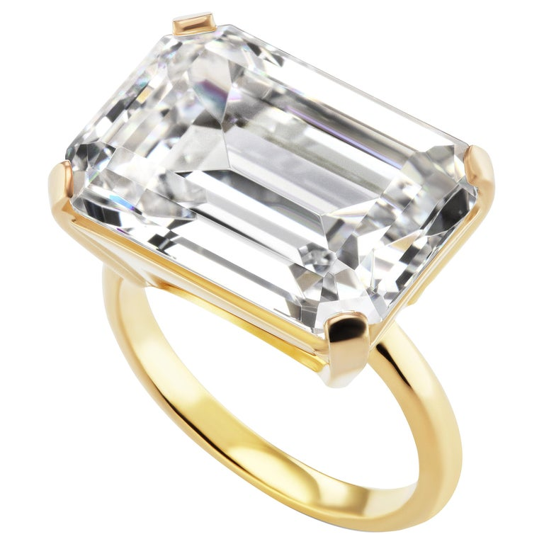Large Art Deco Style Emerald Cut 15 Carat Cubic Zirconia Vermeil Sterling Ring For Sale