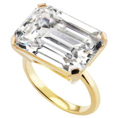 Large Art Deco Style Emerald Cut 15 Carat Cubic Zirconia Vermeil Sterling Ring