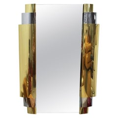 Large Art Deco Style Tiered Chrome and Brass Wall Mirror by Curtis Jere