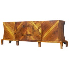 Large Art Deco Walnut and Burr Inlaid Sideboard