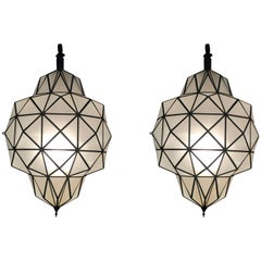 Large Art Deco White Milk Chandelier, Pendant or Lantern in Dome Shape, a Pair