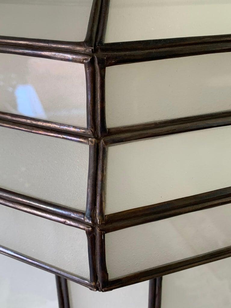 Large Art Deco White Milk Glass Chandelier, Pendant or Lantern, a Pair For Sale 10