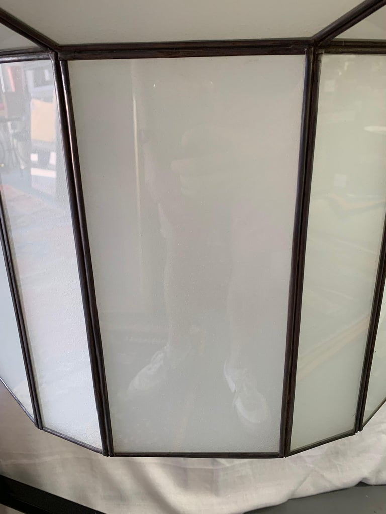 Large Art Deco White Milk Glass Chandelier, Pendant or Lantern, a Pair For Sale 11