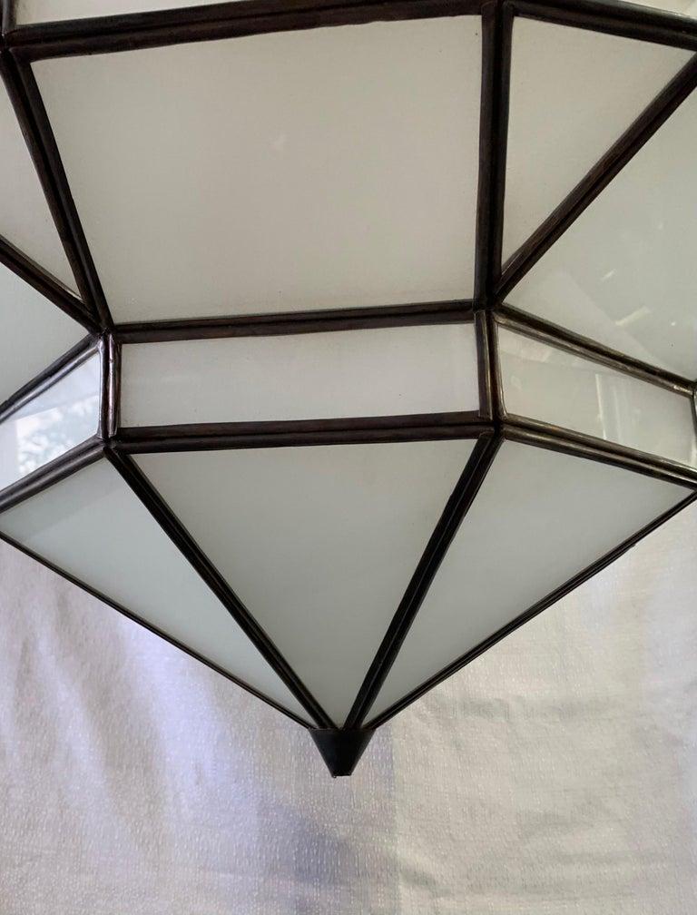 Large Art Deco White Milk Glass Chandelier, Pendant or Lantern, a Pair For Sale 12
