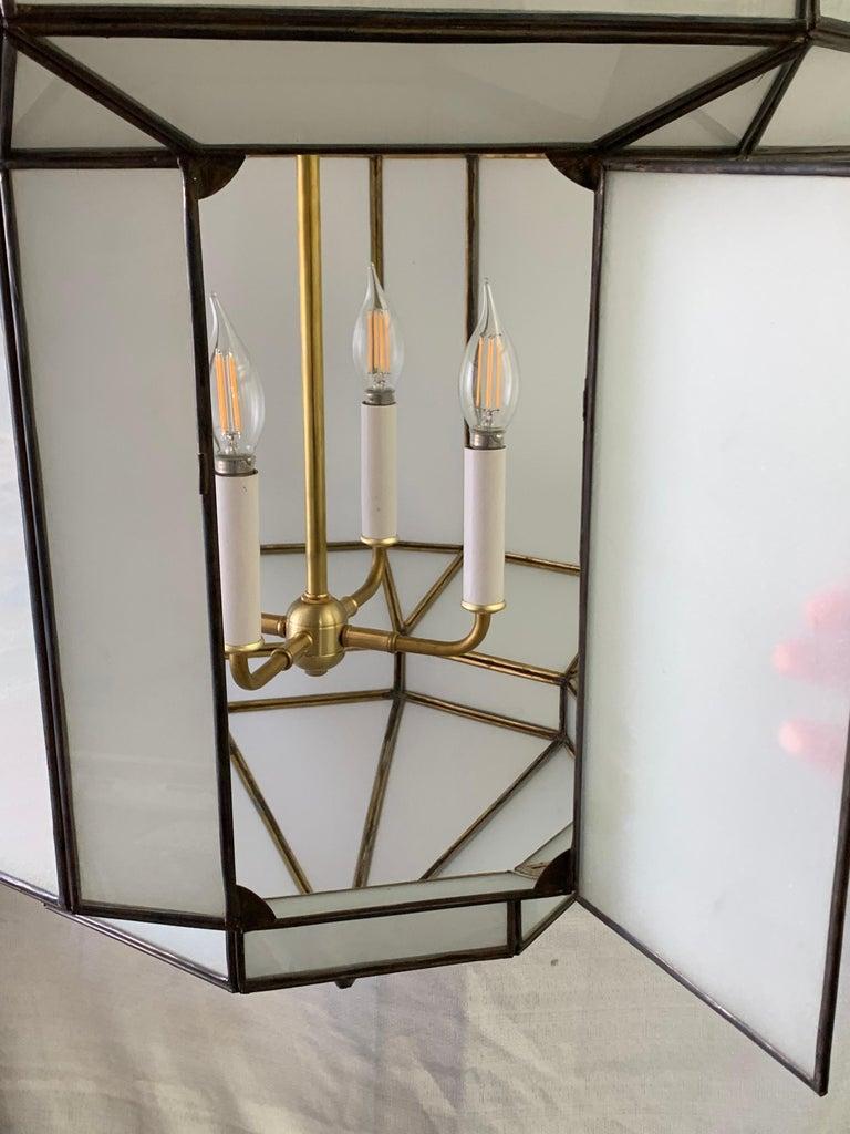 Large Art Deco White Milk Glass Chandelier, Pendant or Lantern, a Pair For Sale 14