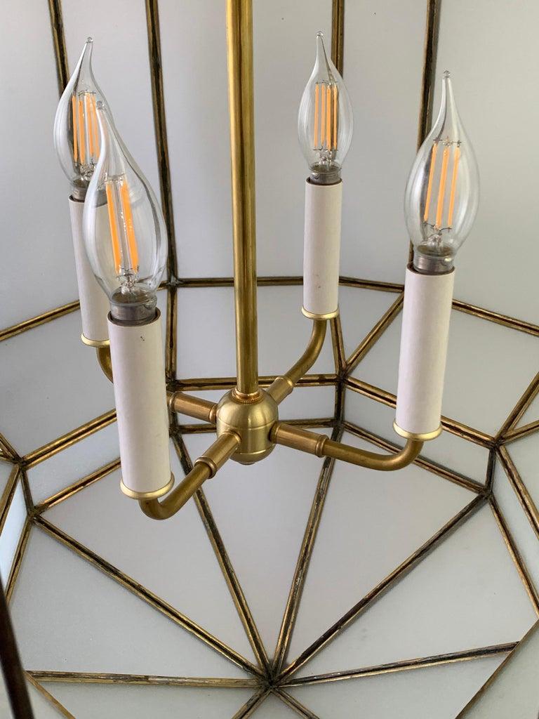 Large Art Deco White Milk Glass Chandelier, Pendant or Lantern, a Pair For Sale 15