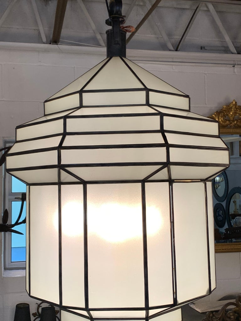 Large Art Deco White Milk Glass Chandelier, Pendant or Lantern, a Pair For Sale 12