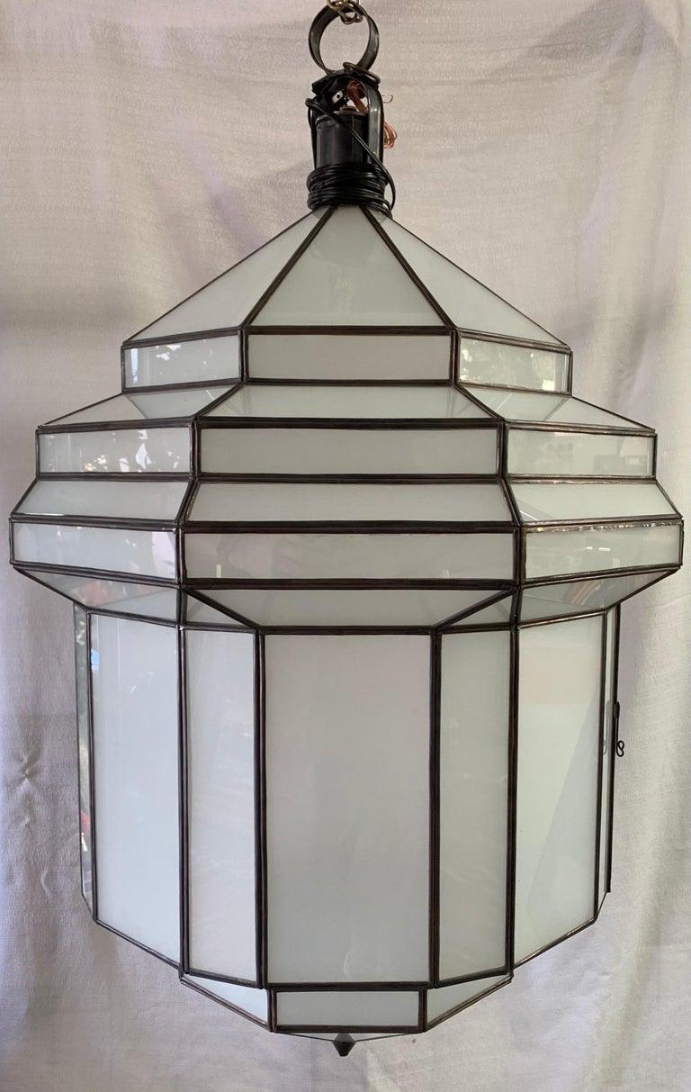 Large Art Deco White Milk Glass Chandelier, Pendant or Lantern, a Pair For Sale 4