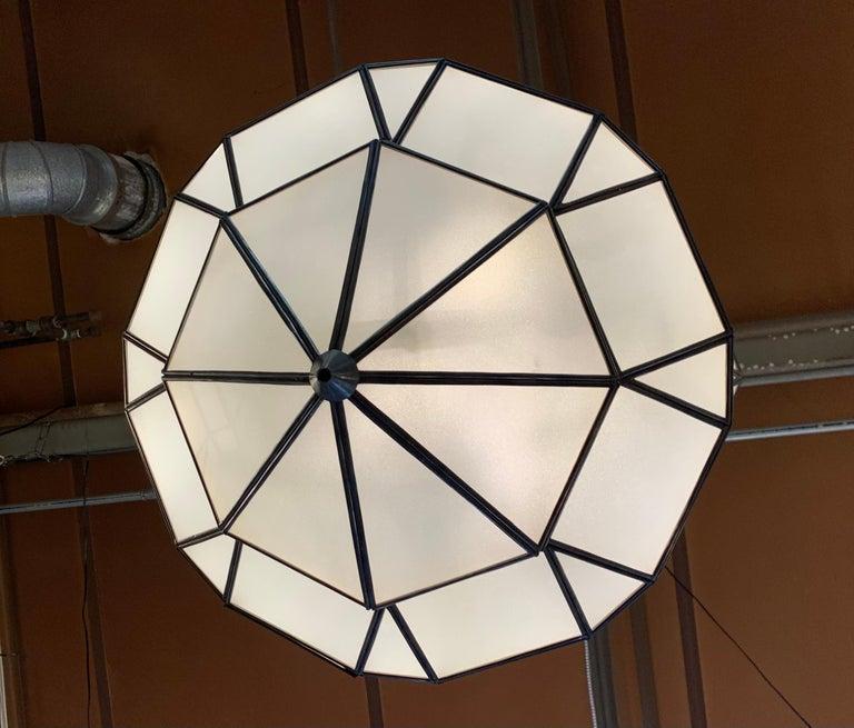 Large Art Deco White Milk Glass Chandelier, Pendant or Lantern, a Pair For Sale 3