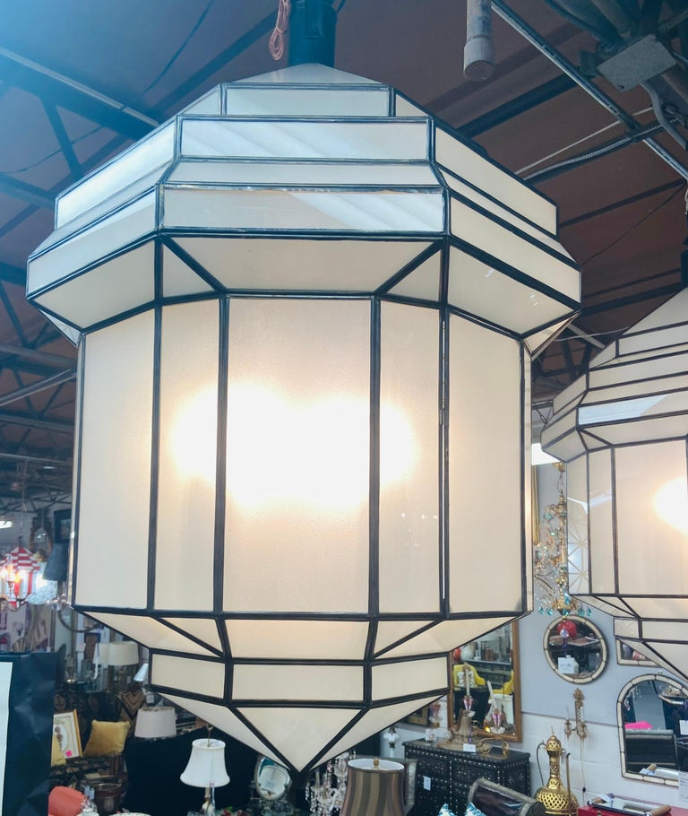 Unknown Large Art Deco White Milk Glass Chandelier, Pendant or Lantern, a Pair For Sale