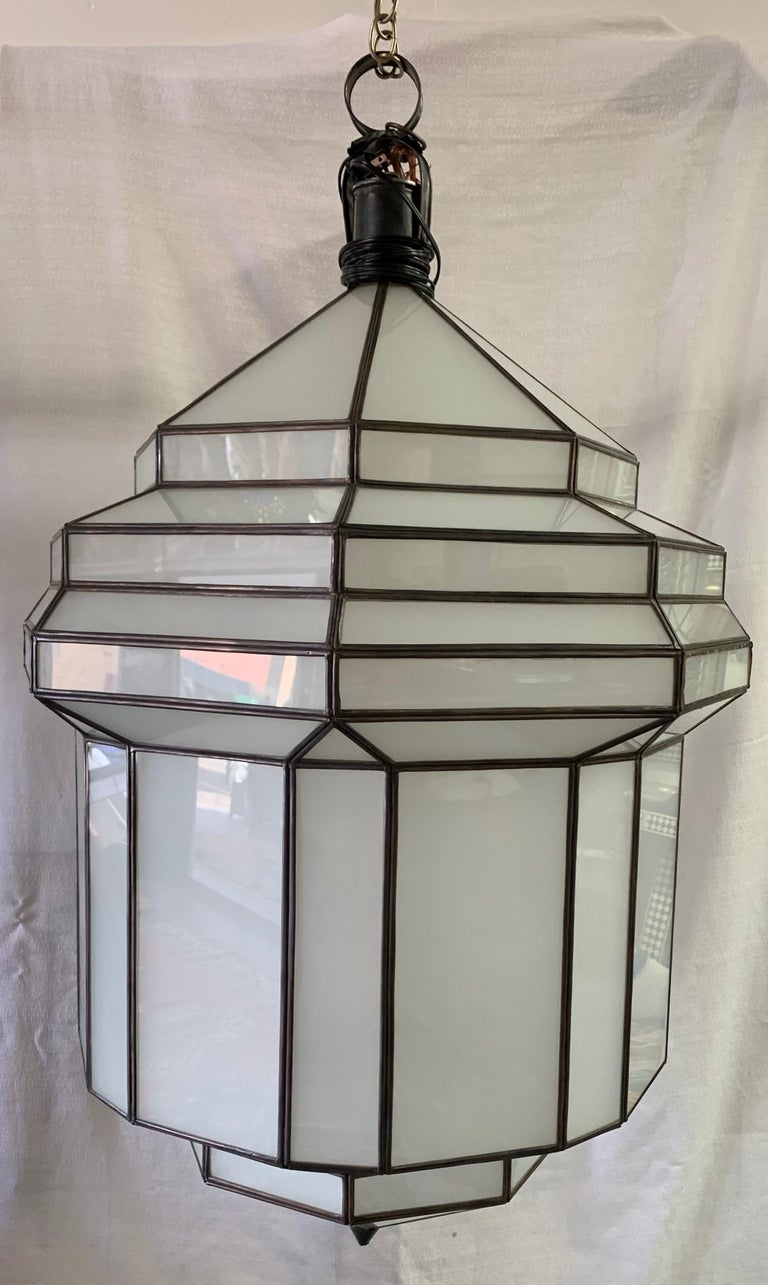 Large Art Deco White Milk Glass Chandelier, Pendant or Lantern, a Pair In Good Condition For Sale In Plainview, NY
