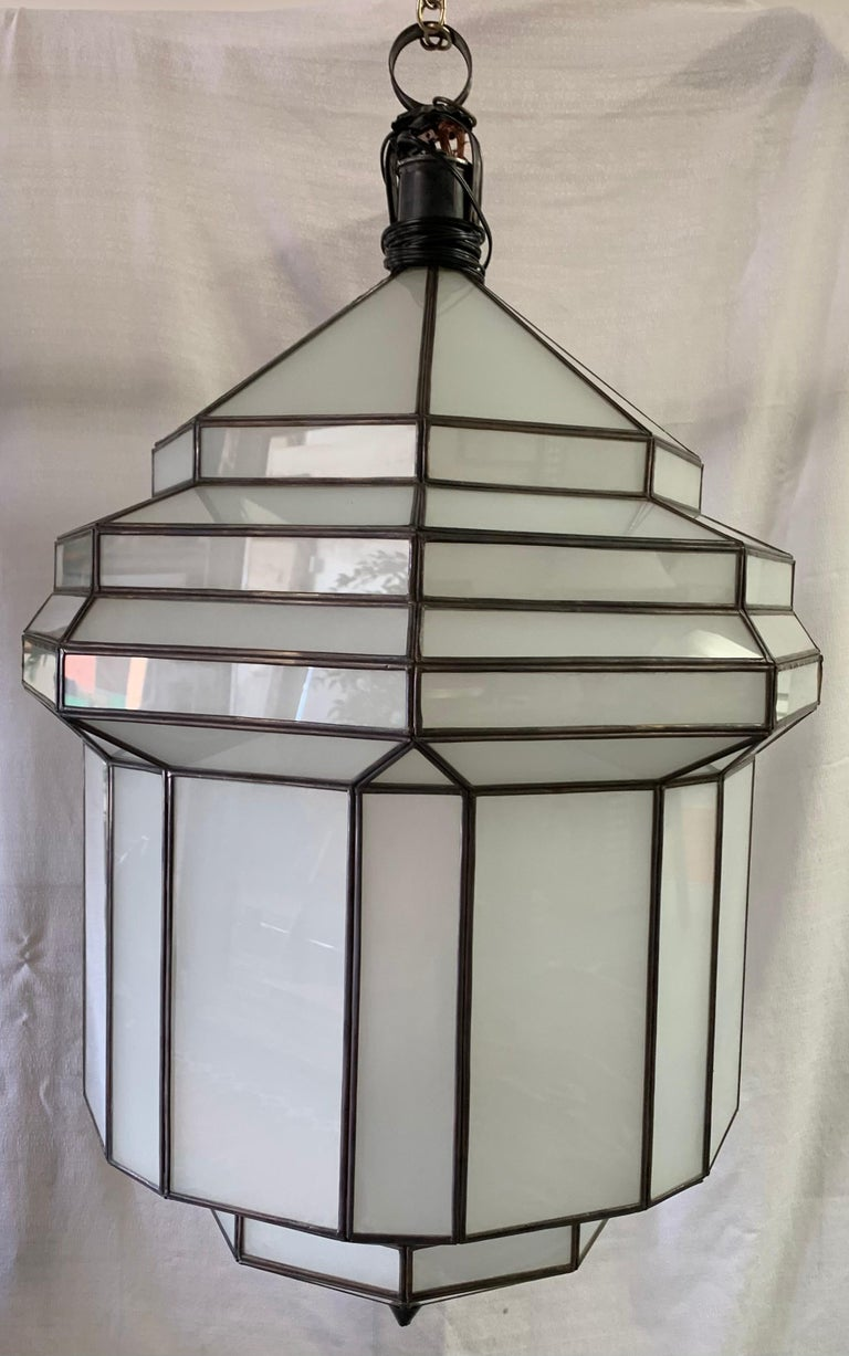 Late 20th Century Large Art Deco White Milk Glass Chandelier, Pendant or Lantern, a Pair For Sale