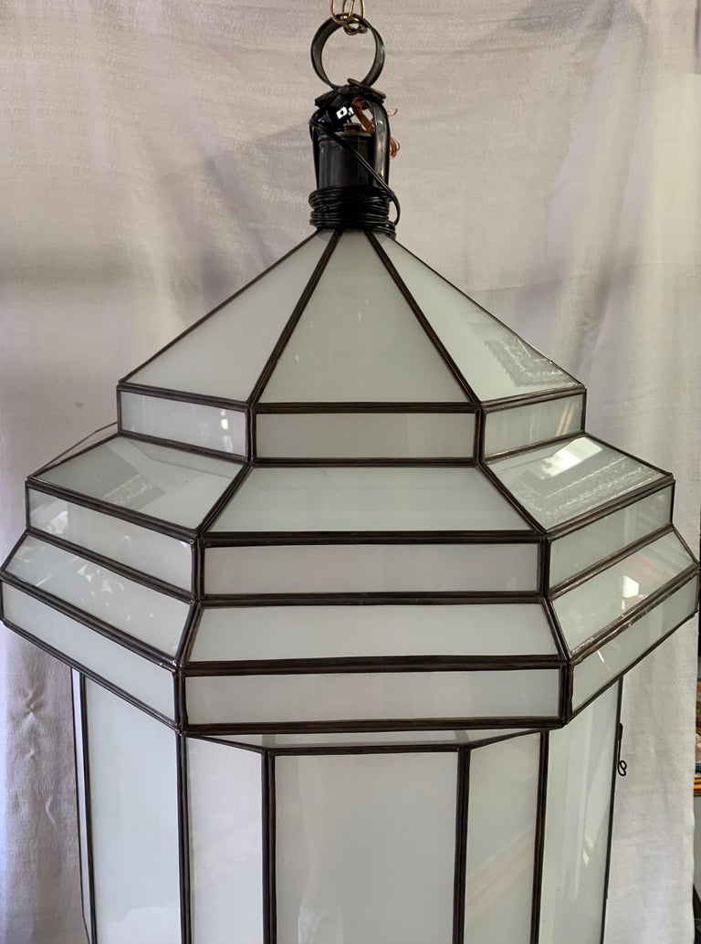 Metal Large Art Deco White Milk Glass Chandelier, Pendant or Lantern, a Pair For Sale