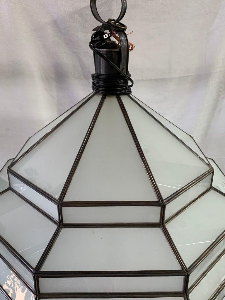 Large Art Deco White Milk Glass Chandelier, Pendant or Lantern, a Pair For Sale 7