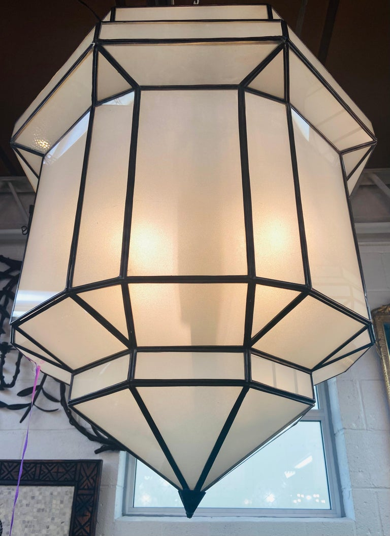 Large Art Deco White Milk Glass Chandelier, Pendant or Lantern, a Pair For Sale 2