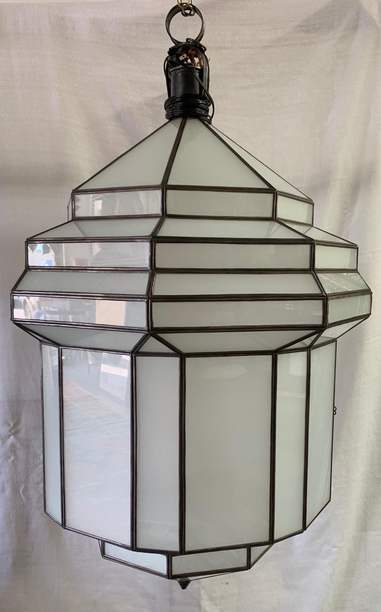 Large Art Deco White Milk Glass Chandelier, Pendant or Lantern, a Pair For Sale 2