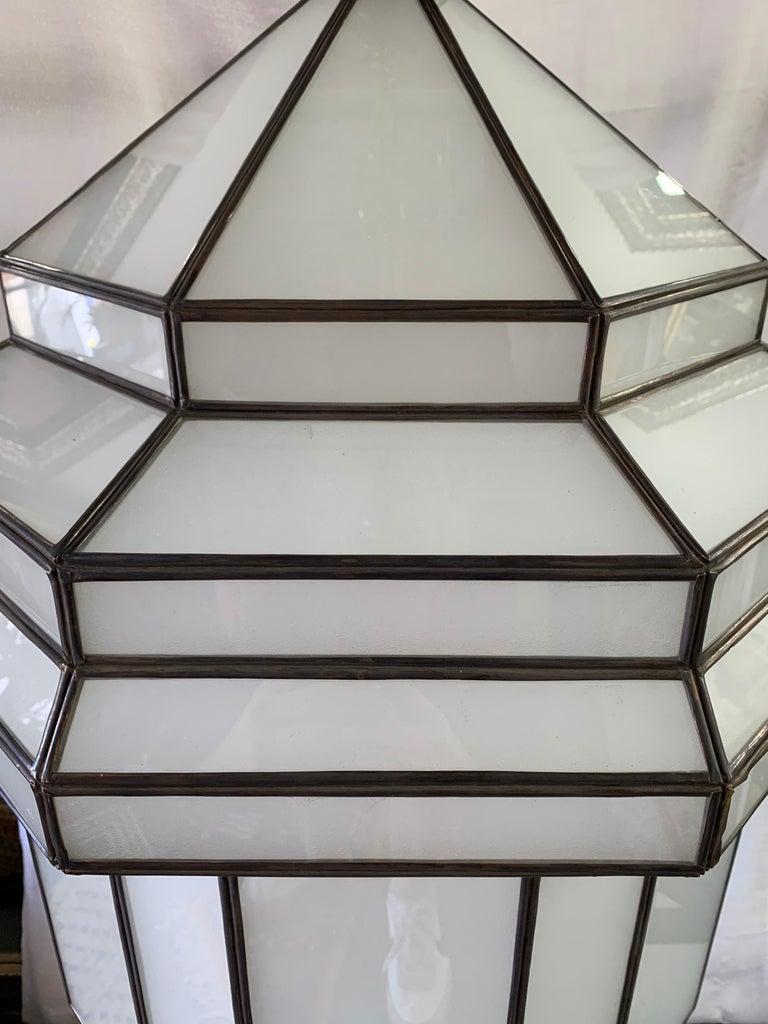 Large Art Deco White Milk Glass Chandelier, Pendant or Lantern, a Pair For Sale 9