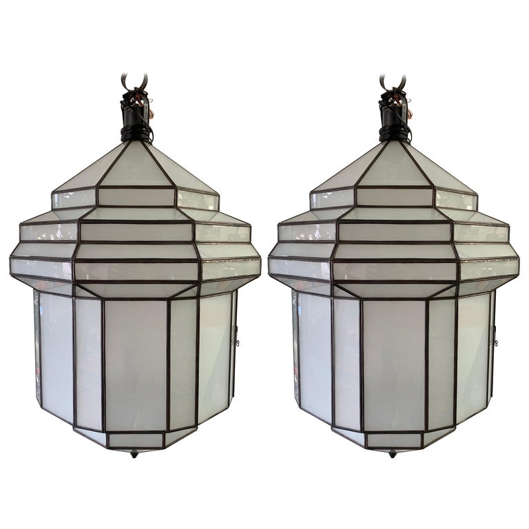 Large Art Deco White Milk Glass Chandelier, Pendant or Lantern, a Pair For Sale