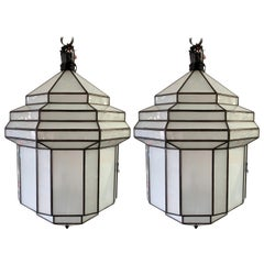 Large Art Deco White Milk Glass Chandelier, Pendant or Lantern, a Pair