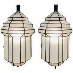 Large Art Deco White Milk Glass Handmade Chandelier, Pendant, Lantern, a Pair