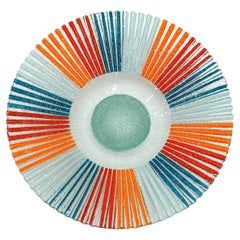 Large Art Glass Platter / Charger in Red, Blue and Orange, Excellent Condition
