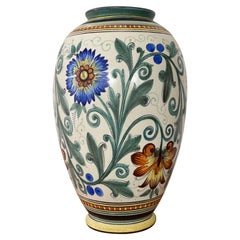 Large Art Gouda Ceramic Flower Pattern Vase, 1930s