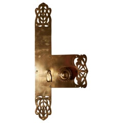 Large Art Nouveau Brass Front Door Plate with Knob and Escutcheon