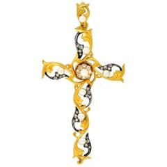 Large Art Nouveau Diamond Pearl Silver 18 Karat Gold Cross Pendant