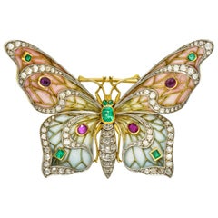 Large Art Nouveau Diamond Ruby Plique-A-Jour Enamel 18 Karat Gold Pendant Brooch