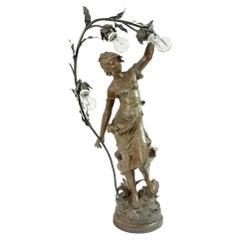 Large Art Nouveau Sculpture of August Moreau Bronze Newel Post Lamp