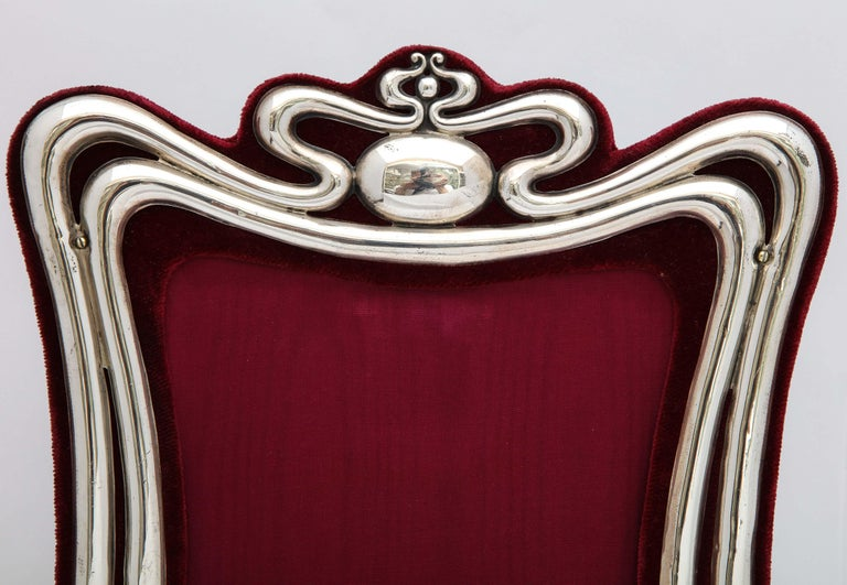Early 20th Century Large Art Nouveau Sterling Silver Picture Frame by Walker and Hall For Sale