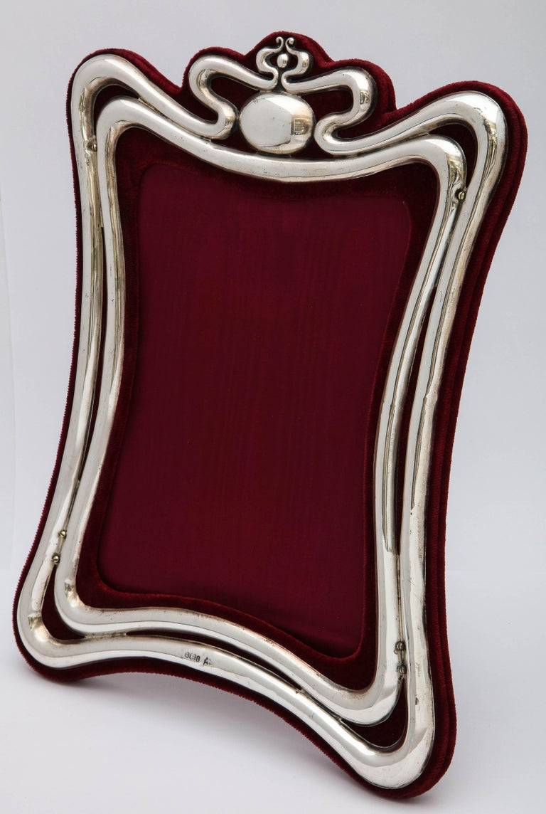 Large Art Nouveau Sterling Silver Picture Frame by Walker and Hall For Sale 2