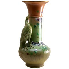 Large Art Nouveau Vase with a Sculpted Peacock and 'Opium' Poppies