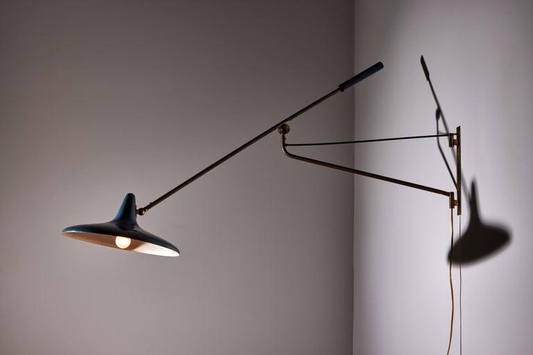 Enameled Large Articulating Wall Light by Stilnovo For Sale