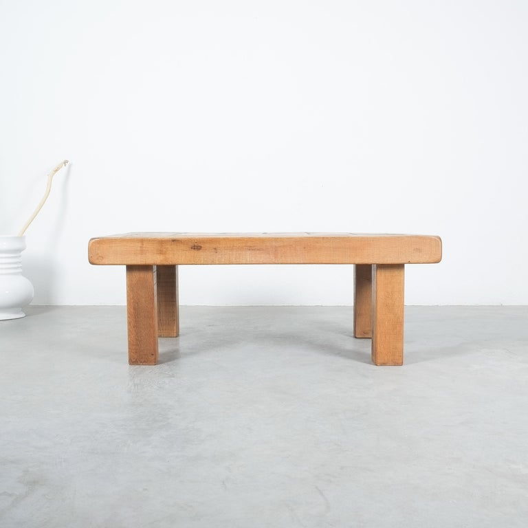 Large Artisan Oak Terracotta Coffee or Outdoor Table, France, 1950 For Sale 4