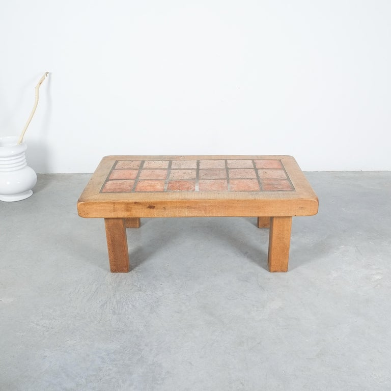 Large Artisan Oak Terracotta Coffee or Outdoor Table, France, 1950 For Sale 5