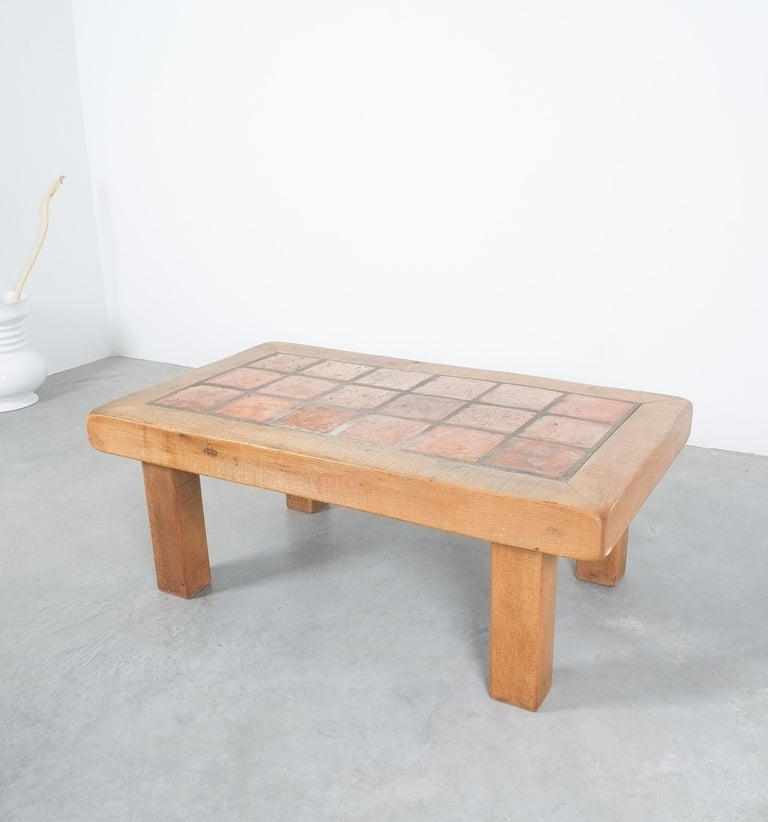 Large Artisan Oak Terracotta Coffee or Outdoor Table, France, 1950 For Sale 6