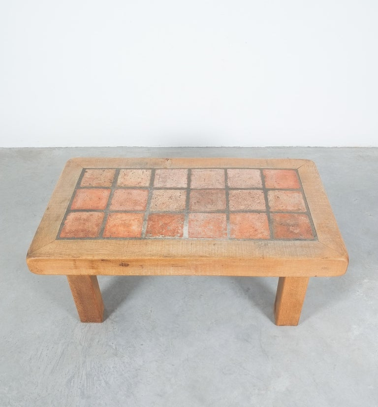 Mid-Century Modern Large Artisan Oak Terracotta Coffee or Outdoor Table, France, 1950 For Sale