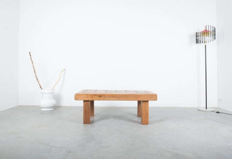 Mid-20th Century Large Artisan Oak Terracotta Coffee or Outdoor Table, France, 1950 For Sale