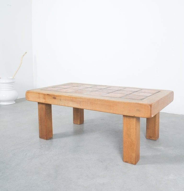 Large Artisan Oak Terracotta Coffee or Outdoor Table, France, 1950 For Sale 1