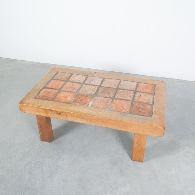 Large Artisan Oak Terracotta Coffee or Outdoor Table, France, 1950 For Sale 2