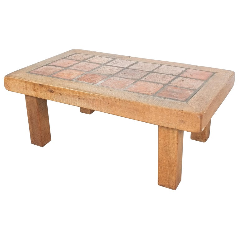 Large Artisan Oak Terracotta Coffee or Outdoor Table, France, 1950 For Sale