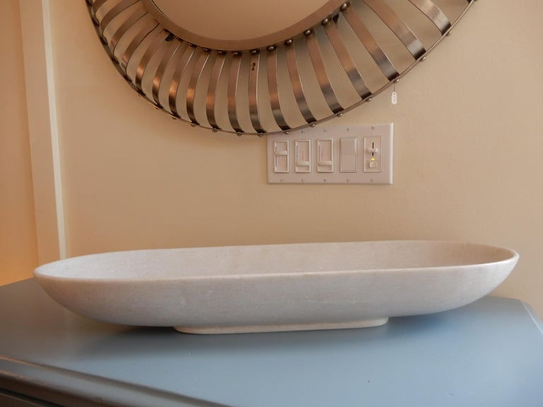 Hand-Crafted Large Artisan Ovate Handcrafted White Alabaster Bowl For Sale