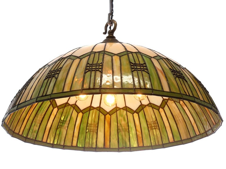 American Large Arts and Crafts 6 Bulb Chandelier  For Sale