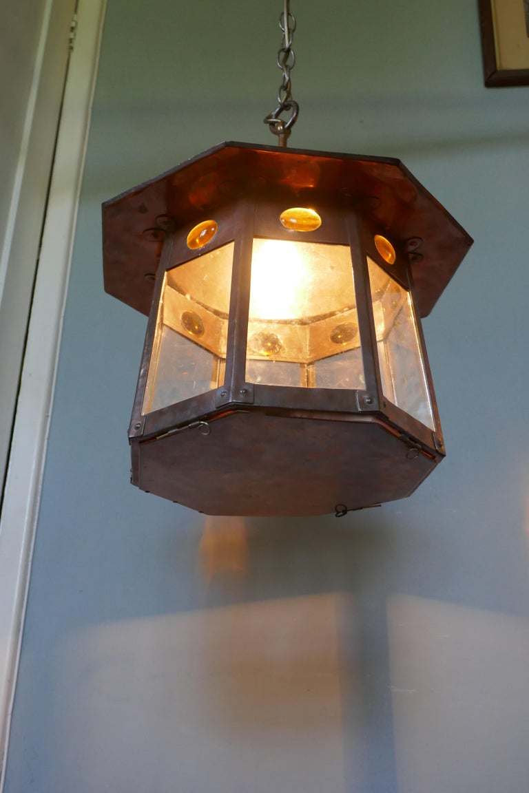 Arts and Crafts Large Arts & Crafts Beaten Copper Hall Lantern Ceiling Light For Sale