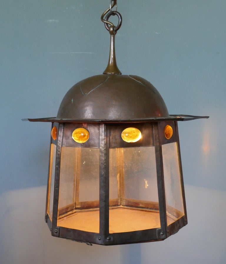 Large Arts & Crafts Beaten Copper Hall Lantern Ceiling Light In Good Condition For Sale In Chillerton, Isle of Wight