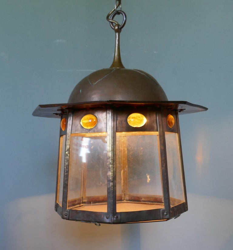19th Century Large Arts & Crafts Beaten Copper Hall Lantern Ceiling Light For Sale