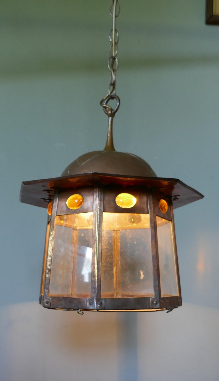 Large Arts & Crafts Beaten Copper Hall Lantern Ceiling Light For Sale 1