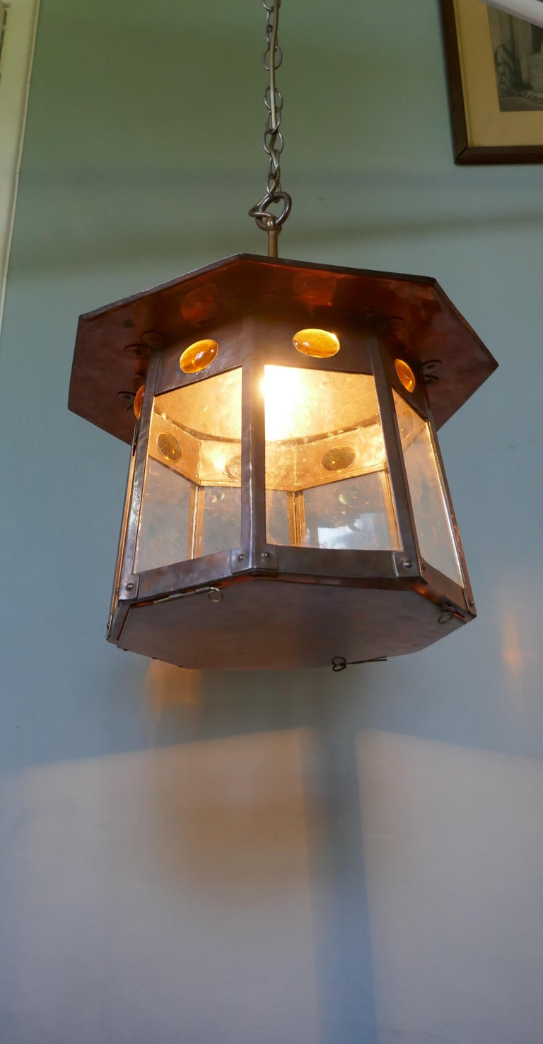 Large Arts & Crafts Beaten Copper Hall Lantern Ceiling Light For Sale 2