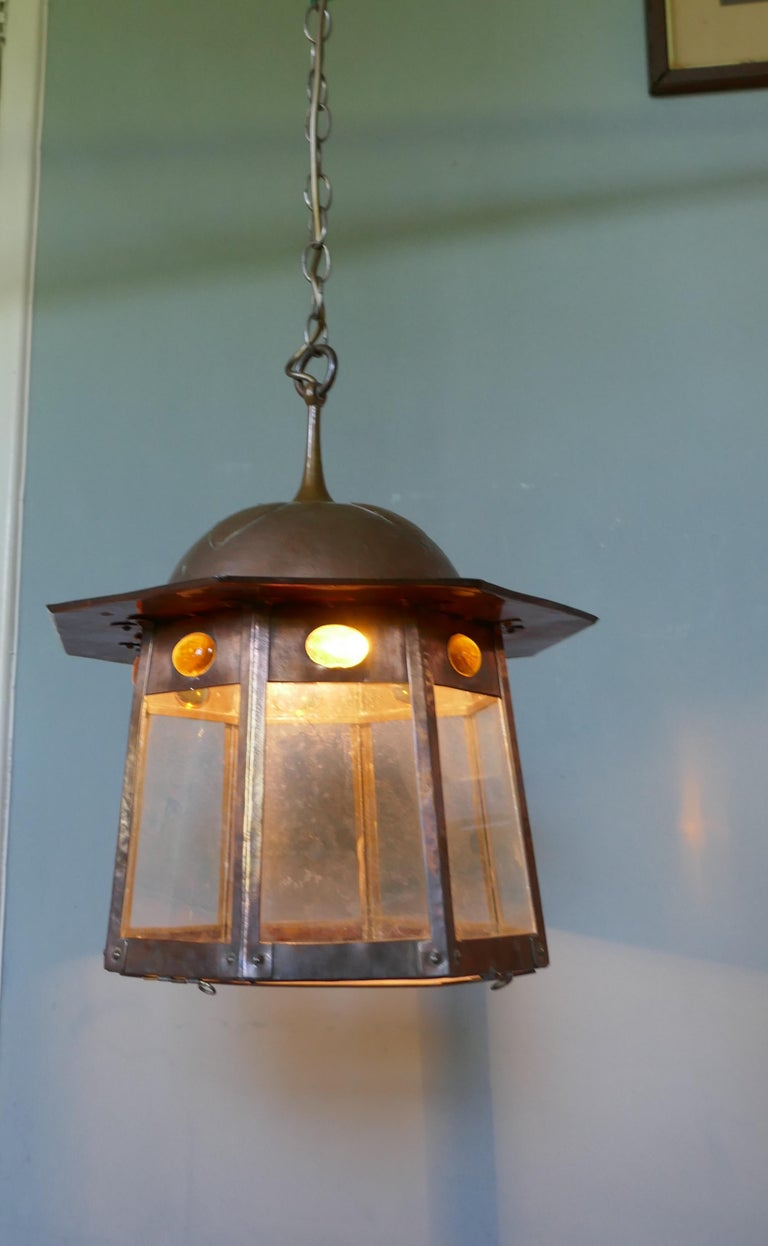 Large Arts & Crafts Beaten Copper Hall Lantern Ceiling Light For Sale 3